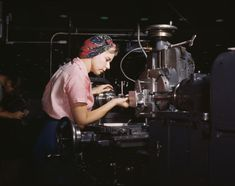 """Women become skilled shop technicians after careful training in the school at the Douglas Aircraft Company plant, Long Beach, Calif. in February 1942. Most important of the many types of aircraft made at this plant are the B-17F (""""Flying Fortress"""") heavy bomber, the A-20 (""""Havoc"""") assault bomber and the C-47 heavy transport plane for the carrying of troops and cargo. (Alfred T. Palmer/U.S. Office of War Information/Library of Congress)"""