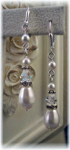 New w/Swarovski Crystal/Pearl Teardrop Earrings #HisJewelsCreationsDesign #DropDangle