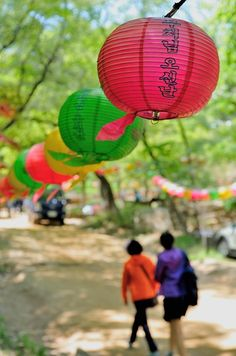 """Celebrating Buddha's birthday at Jeondeungsa Temple in #Ganghwa Island, Korea (May 17, 2013) : In Korea the birthday of Buddha is celebrated according to the Lunisolar calendar. This day is called 석가탄신일 (Seokga tansinil), meaning """"Buddha's birthday"""" or 부처님 오신 날 (Bucheonim osin nal) meaning """"the day when the Buddha came"""". Lotus lanterns cover the entire temple throughout the month which are often flooded down the street."""