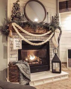 Christmas Fireplace, Christmas Mantels, Farmhouse Christmas Decor, Fireplace Mantels, Rustic Christmas, Christmas Home, Farmhouse Decor, Christmas Decorations, Fireplace Decorations
