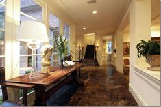Cement floors mixed with traditional finishes.