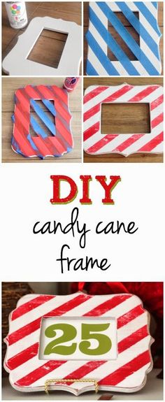 This DIY Candy Cane Frame is so simple and cute! | TheHowToCrew.com