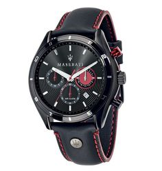 Maserati Sorpasso Black Stainless Steel Case and Leather Strap Men's Chrono Watch Boys Watches, Wrist Watches, Men's Watches, Luxury Watches, Amazing Watches, Stitching Leather, Black Stainless Steel, Color Negra, Casio Watch