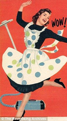 HOME ALONE: A housewife at her chores in a Fifties poster