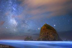 Milky Way and Bioluminescent Water....PhotographerJeffrey Berkestook this image from Cannon Beach in Oregon around the Haystack Rock Bird Sanctuary in July. CREDIT:Photographer Jeffrey Berkes