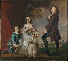 Thomas (1740–1825) and Martha Neate (born 1742) with His Tutor, Thomas Needham, 1748,  Sir Joshua Reynolds