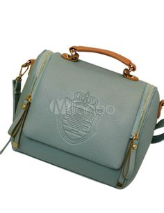 Blue Embossed PU Leather Magnetic Snap Unspecified Cross Body Bag - Milanoo.com