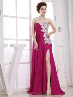 A-line One Shoulder Chiffon Floor-length Split Front Prom Dresses