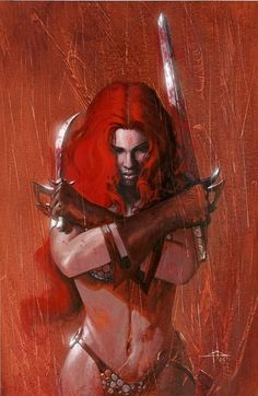 Red Sonja - She devil with a sword fantasy art female warrior Comic Book Characters, Comic Books Art, Book Art, Epic Characters, Red Sonja, Bd Comics, Comics Girls, Dark Fantasy, Fantasy Art