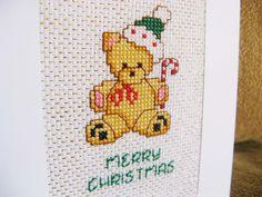 Christmas card - Bear cross stitch.