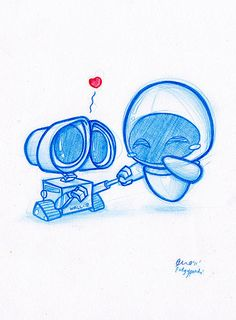 Really cute Wall-e and Eva fan art! Daily Doodle Wall-e! By PodgyPanda… Disney Kunst, Arte Disney, Disney Art, Disney Movies, Disney Stuff, Disney Magic, Disney And Dreamworks, Disney Pixar, Chibi Disney