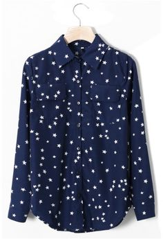 Double Pockets Stars Shirt in Navy Blue - Retro, Indie and Unique Fashion