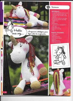 PATRONES GRATIS DE CROCHET: AMIGURUMI UNICORNIO a crochet... Patrón gratis Crochet Pony, Crochet Unicorn, Crochet Bear, Crochet Patterns Amigurumi, Crochet Gifts, Amigurumi Doll, Crochet Animals, Free Crochet, My Little Pony Unicorn