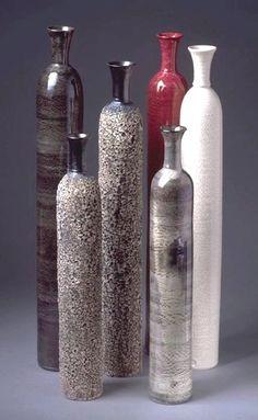 Set 6 Large Ceramic Modern Bottles Minimal by blueroompottery