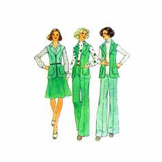 1970s Misses Unlined Vest Skirt Pants Simplicity 6811 Vintage Sewing Pattern