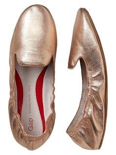 Gap Metallic Scrunch Leather Loafers