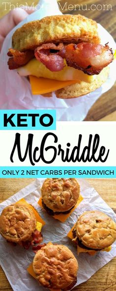 Pancakes, syrup, bacon, eggs and cheese come together in perfect harmony in this recipe for homemade McGriddle Sandwiches. This low carb twist on the quintessential fast food breakfast sandwich is pure perfection. What could possibly be better than an entire American breakfast all wrapped up in one sandwich, with only 2 net carbs?? #keto #lowcarbbreakfast #ketorecipes