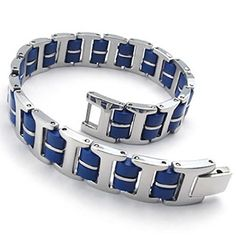 Men Stainless Steel Link Bracelet Silver Blue Length 8.5 Inches Bracelet for Men by Aienid. Solid Exquisite Finished Bracelets for You. High Quality Stainless steel,High Strength,Low Elongation. Perfect for Your Apparel & Hand. Comfortable to Use,Please Treat Them Gently,Donot Rub Others. Nice Personalized Item,Nice Choice By Aienid Concept.