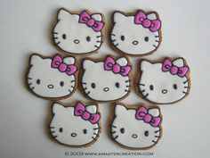 I made these Hello Kitty cookies for a friend's daughter's birthday in 2009. It amazes how much this picture has been requested, pinned, blogged, liked, searched, etc. Many thanks to all that love these cookies & picture! And a big thank you to Hello Kitty herself!  ~A Master Creation
