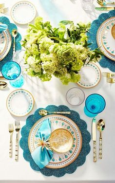 table.quenalbertini: Table in turquoise and metallic gold | frontgate