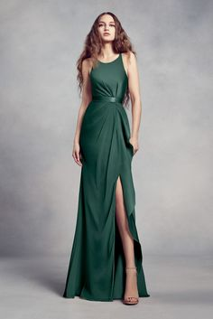 dde9bf092dd9 Charmeuse and Chiffon Bridesmaid Dress with Ruffle Style VW360340, Apple,  16. High Neck Bridesmaid DressesOlive Green ...