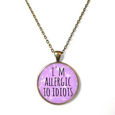 Pastel Goth i'm allergic to idiots Necklace - Pop Culture Jewelry - Funny Soft Grunge Pentagram Necklace