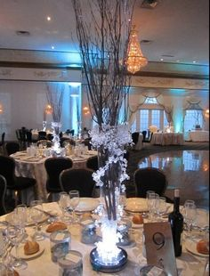 Iced Branch Centerpieces by MagicBeyondMidnight on Etsy https://www.etsy.com/listing/70567034/iced-branch-centerpieces