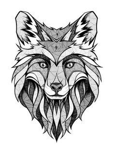 Geometric fox, artist unknown