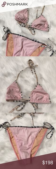 Burberry Light Pink Triangle Bikini - Plaid Trim Burberry Light Pink Triangle Bikini with Plaid Trim! Love this classic string Bikini style with the classic Burberry Plaid for the trim! So cute & girlie with a touch of Burberry!! Purchased from the Burberry store in Dallas. Size Medium. Top has a small discoloration & top back string is coming unstitched. Please see photos. BO745071917 Burberry Swim Bikinis