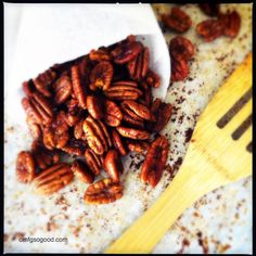 Absolute Favorite!! 2 cups pecan halves, 2 tbsp butter (melted), 1 1/2 tbsp worcestershire sauce, 2 tsp chili powder, 1/4 tsp garlic powder, 1/4 tsp finely ground sea salt, 1/8 tsp cayenne pepper... 300 degrees for 10-12 mins.