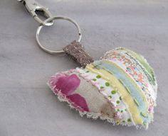 Shabby heart keychain Rustic heart ornament by sewingfairydust