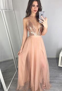 Sexy Pearl Pink Prom Dress - Deep V Neck Illusion Floor-Length with Sequins  Split b7a0a6820