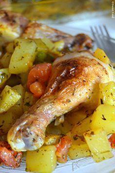 Pilons de poulet au four et pommes de terre