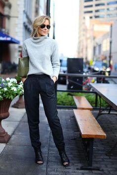 Slip on a textured turtleneck sweater, as Mary of Happily Greydid, instead of a silk blouse; and try tapered wool pants instead of a skinny or straight pair.