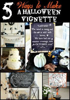 DIY HALLOWEEN DECOR - Perfect for mantels, book shelves, or credenzas, these smaller displays are what I call Halloween vignettes. Enjoy these 5 Ways to Make a Halloween Vignette. Diy Halloween Decorations, Spooky Halloween, Holidays Halloween, Halloween Treats, Halloween Party, Halloween Stuff, Pumpkin Decorations, Spooky Decor, Halloween Goodies