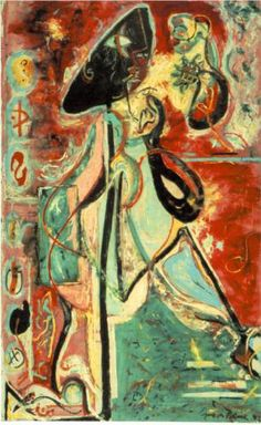 Jackson Pollock (January 1912 - 1956) | Abstract-Expressionism | Moon Woman - 1942