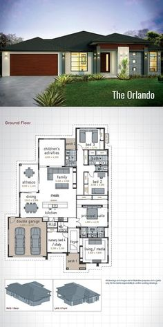 Small house floor plan with open planning  Vaulted ceiling  three     Single Storey House Design   The Orlando  Designed with the family in mind  this modern floor plan will meet the needs of everyone in the family