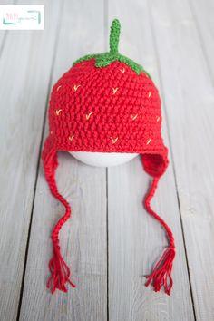 Erdbeermütze+Mütze+Erdbeere+gehäkelt+Häkelmütze+von+MAMIgurumi+auf+DaWanda.com