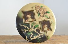 Antique Victorian Sisters Celluloid Photo Large Button Frame