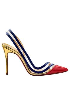 Christian Louboutin Red Toe, Gold Heel & Blue Slingback Pumps Spring-Summer 2014 #CL #Louboutins #Shoes