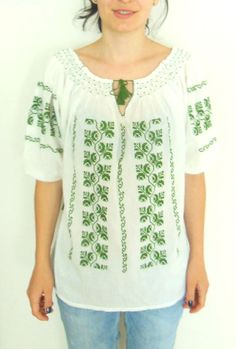 FREE SHIPPING Romanian Embroidery blouse handmade cross