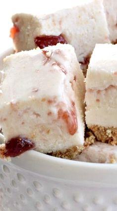 Strawberry Shortcake Fudge: a sweet fudge with a cookie crust, and strawberry preserves swirled into a creamy white chocolate fudge!