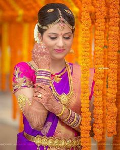 Beautiful Bridal Blouse Designs for South India - Indian Fashion Ideas | Indian Fashion Ideas Indian Bridal Sarees, Indian Bridal Fashion, Indian Bride Poses, Couple Wedding Dress, Indian Wedding Couple Photography, Wedding Sarees Online, Bridal Blouse Designs, Bridal Outfits, Wedding Poses