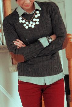 Grey, chambray, & red