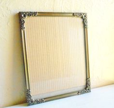 Large Vintage Gold With White Metal Filigree Picture Frame