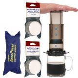 AeroPress Coffee and Espresso Maker with zippered nylon tote bag and an Extra 350 Micro Filters (700 Total)