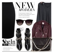 """SHEIN Long Sleeve Hollow Black T-shirt"" by fattie-zara ❤ liked on Polyvore featuring Alexander McQueen, Reiss, Yves Saint Laurent, STELLA McCARTNEY and Ray-Ban"