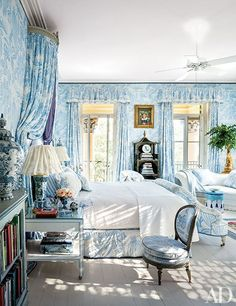 Master Bedroom, Florida Home Interior Design Mario Buatta. Manual Canovas fabric