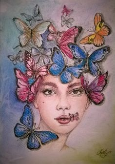 Miss Butterfly/pencil&pastel