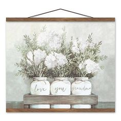 Wood Painting Techniques, Tinted Mason Jars, Farmhouse Paintings, Free Printable Art, Hanging Canvas, Country Farmhouse Decor, Natural Brown, Floral Bouquets, Canvas Art Prints